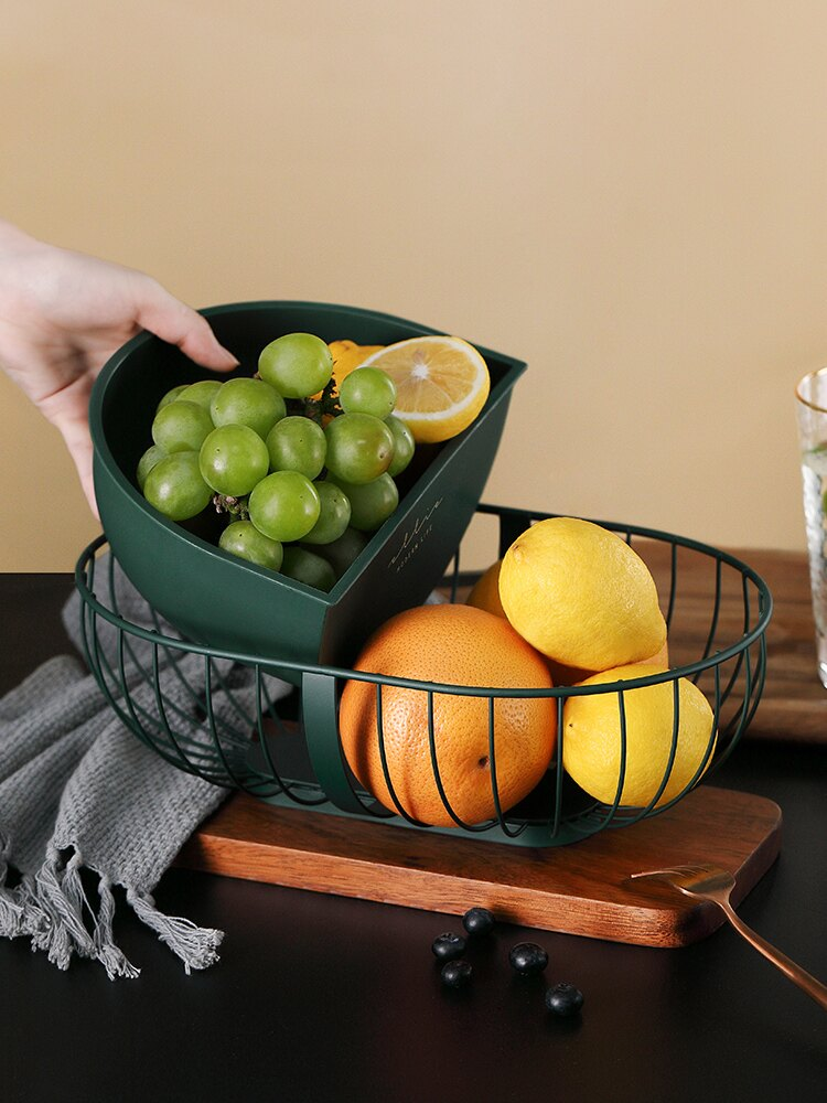 家用鐵藝水果籃北歐水果盤子客廳現代雙筐果盆創意簡約零食收納籃