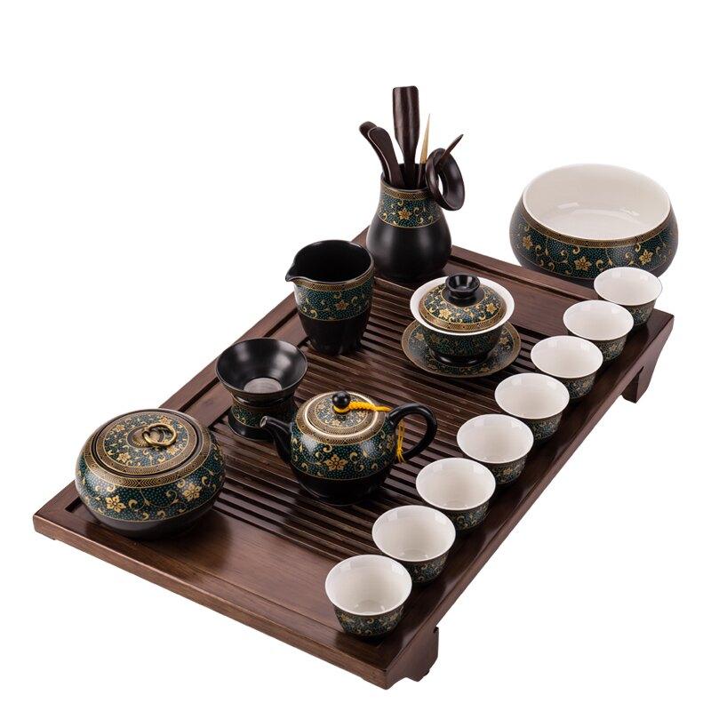 中式陶瓷功夫茶具套裝家用茶盤泡茶壺蓋碗茶杯茶道客廳泡茶器復古
