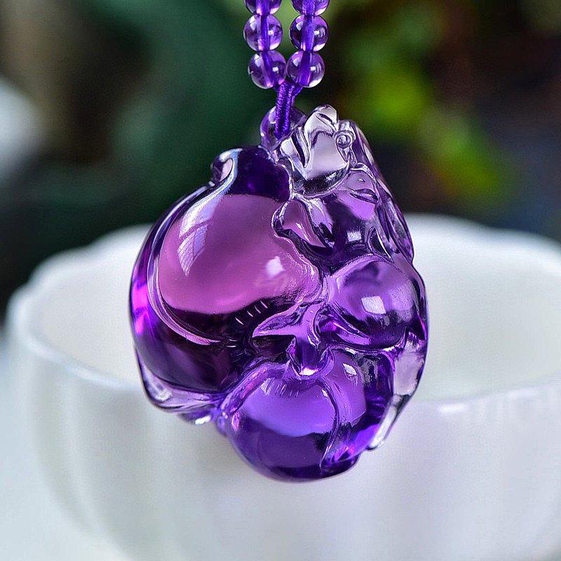 收藏級巴西天然紫水晶招財貔貅吊墜 純手工精工雕刻 晶體通透干