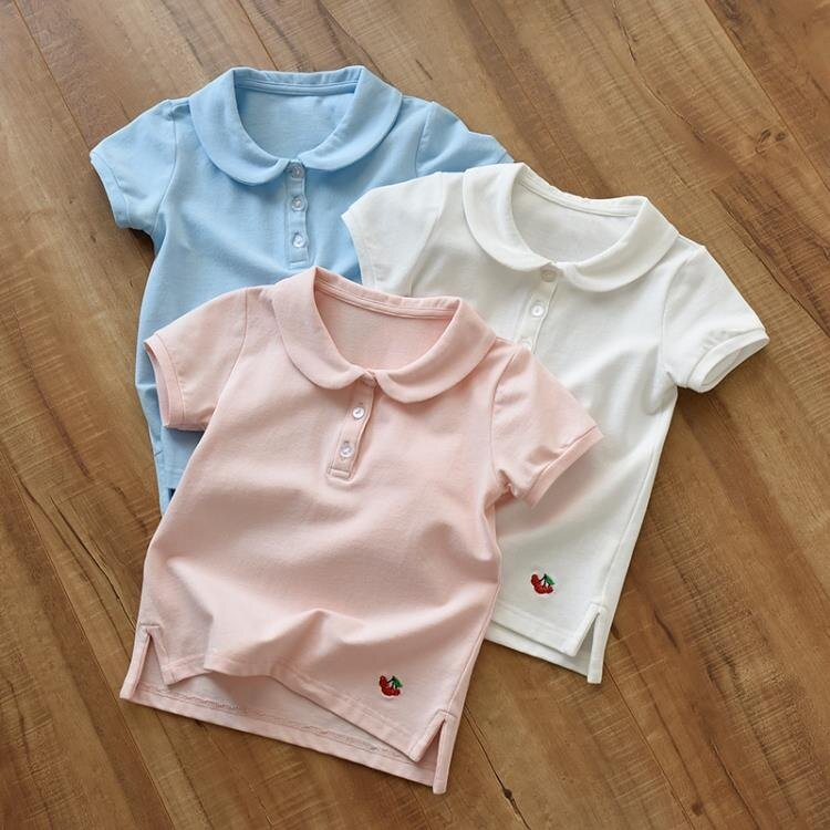 兒童純棉網棉 珠地棉短袖T恤女童刺繡娃娃領薄款上衣學生裝中大童