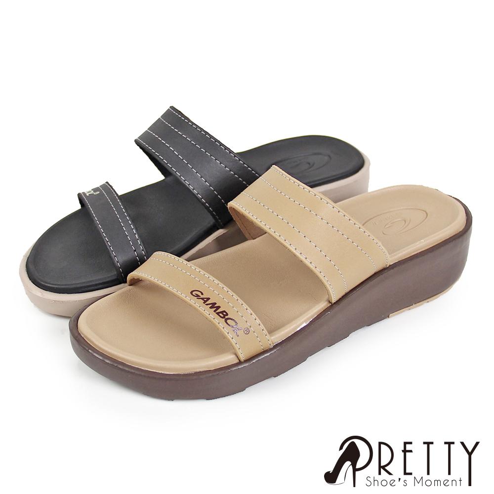 【Pretty】女款素面一字防水厚底小坡跟拖鞋P-22141