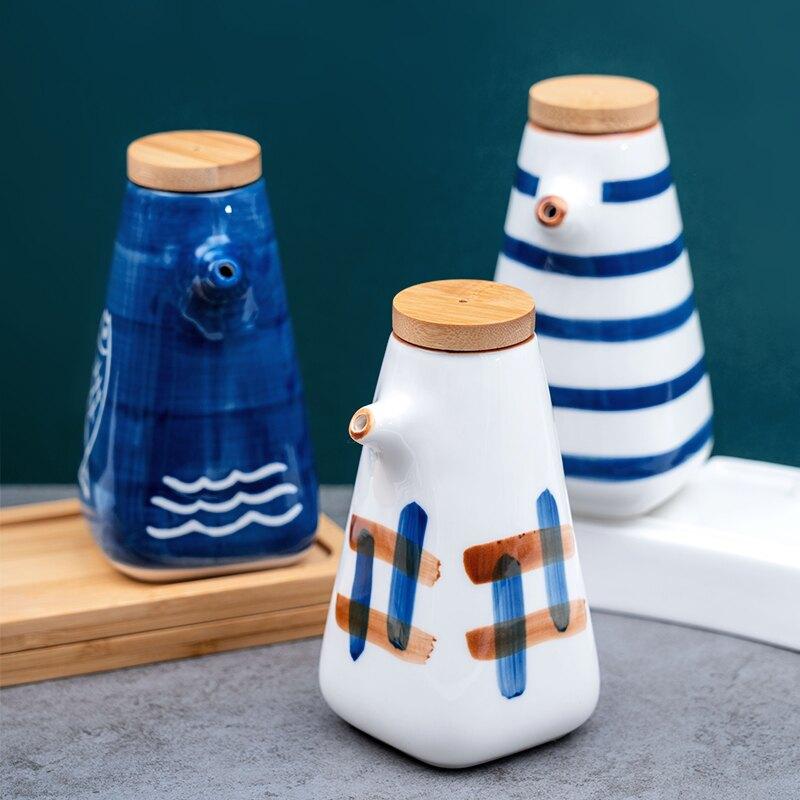 家用日式陶瓷醬油瓶醋瓶小號餐廳醋壺醬油壺蠔油調料瓶調味瓶套裝