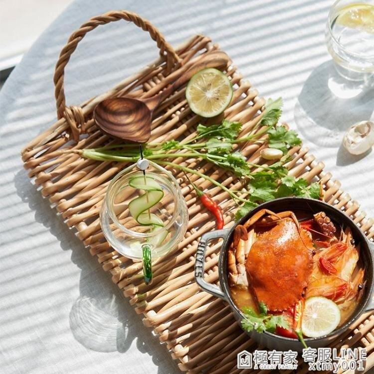 莫語 ins風原創柳條藤編雙耳托盤多功能創意水果盤面包盤