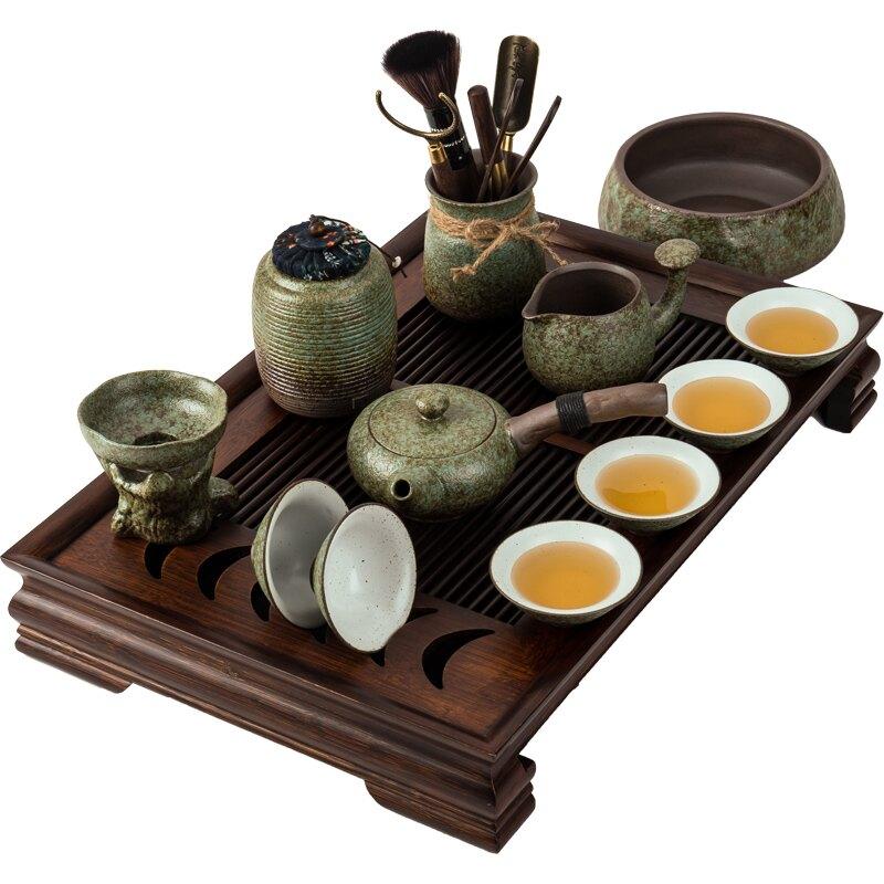 粗陶茶具套裝創意陶瓷茶盤簡約辦公茶壺茶杯蓋碗家用復古茶道泡茶