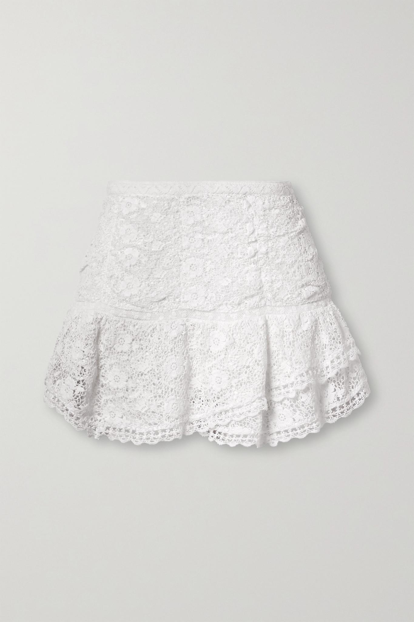 LOVESHACKFANCY - Moe Lace-trimmed Crocheted Cotton Mini Skirt - White - US12