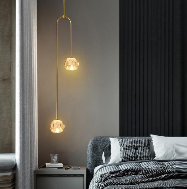 單色光 燈 燈具 吊燈 輕奢臥室燈 床頭吊燈 北歐簡約後現代創意電視背景墻極簡雙頭長線吊燈110v