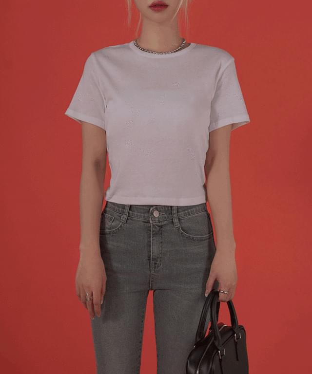 韓國空運 - Alleg cropped short-sleeved T-shirt 短袖上衣