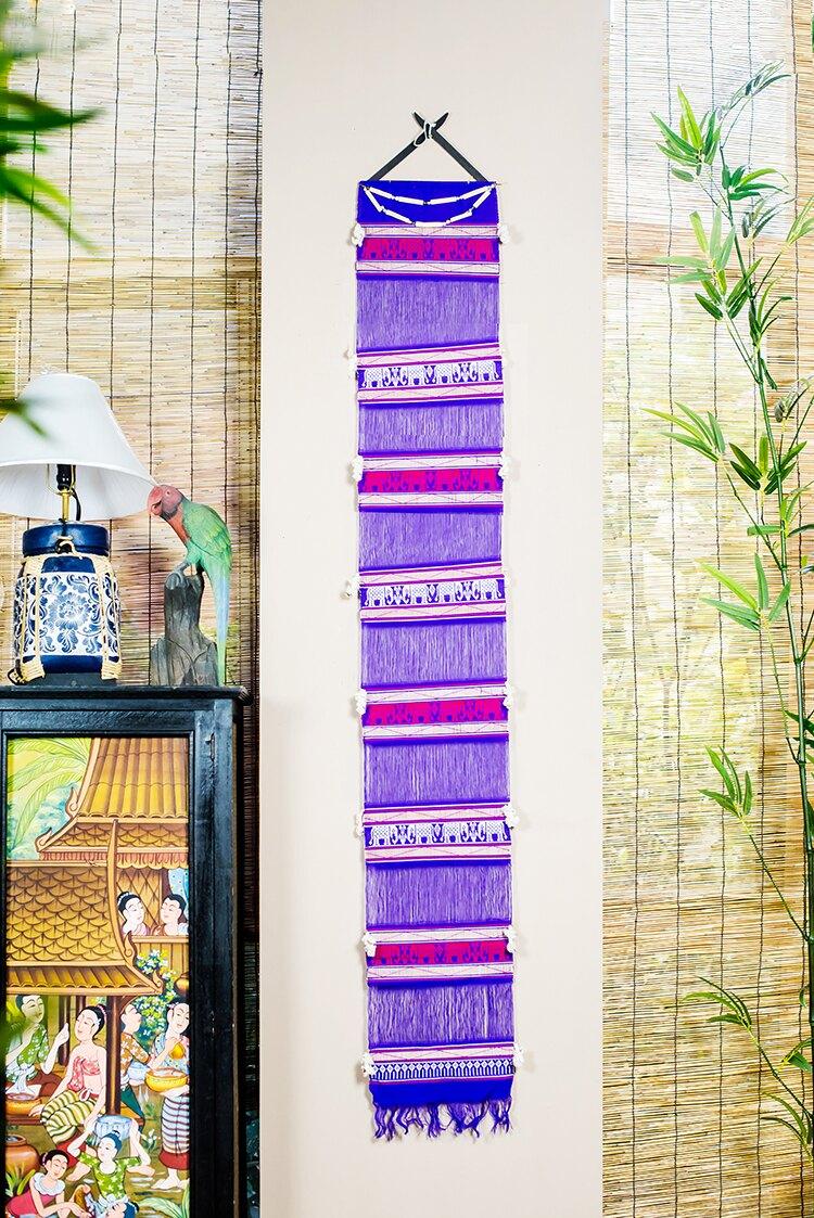 泰國進口創意墻面壁毯編織掛毯壁掛客廳布藝裝飾家居會所墻面裝飾