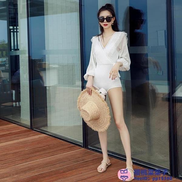法式泳衣女連體仙女范時尚顯瘦長袖性感白色游泳衣泡溫泉大碼泳裝品牌【櫻桃】