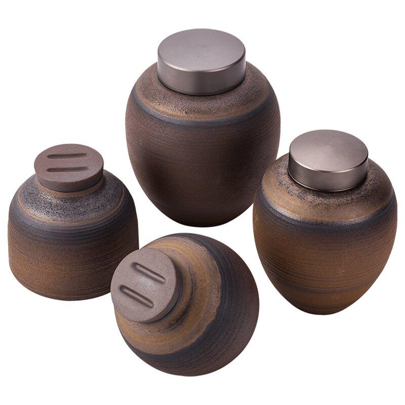 粗陶茶葉罐陶瓷罐復古懷舊土罐小罐子茶罐家用裝茶葉缸帶蓋陶罐