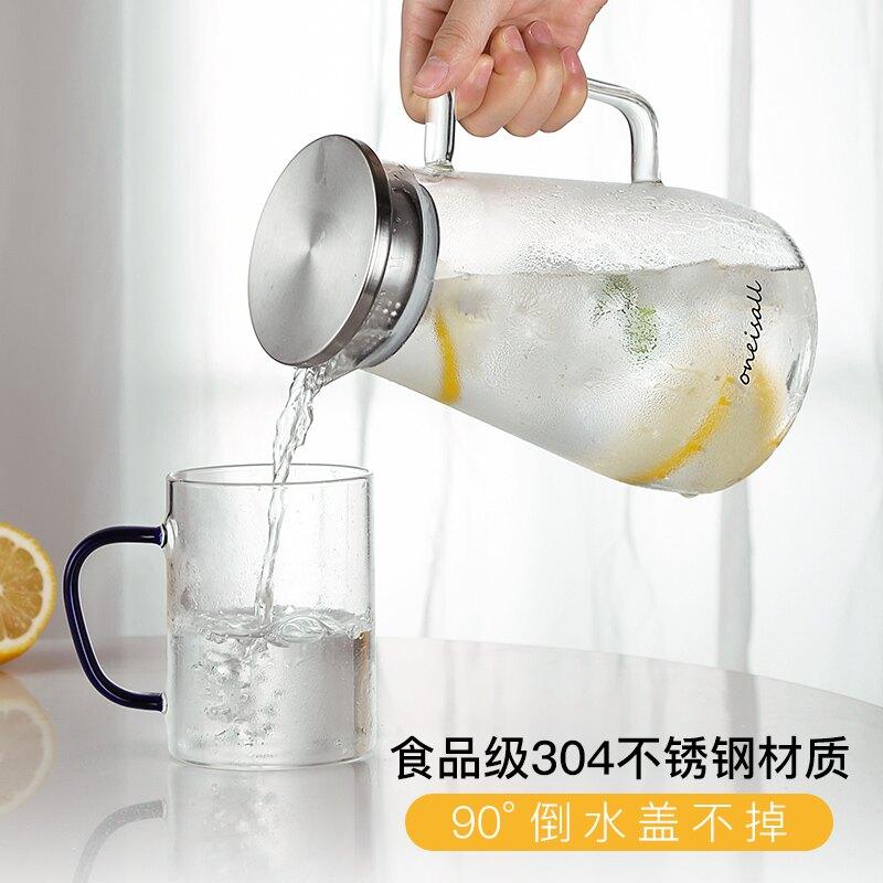 冷水壺/凉水壶 冷水壺套裝家用水杯北歐涼水壺大容量玻璃耐高溫茶壺裝涼白開扎壺『XY19220』