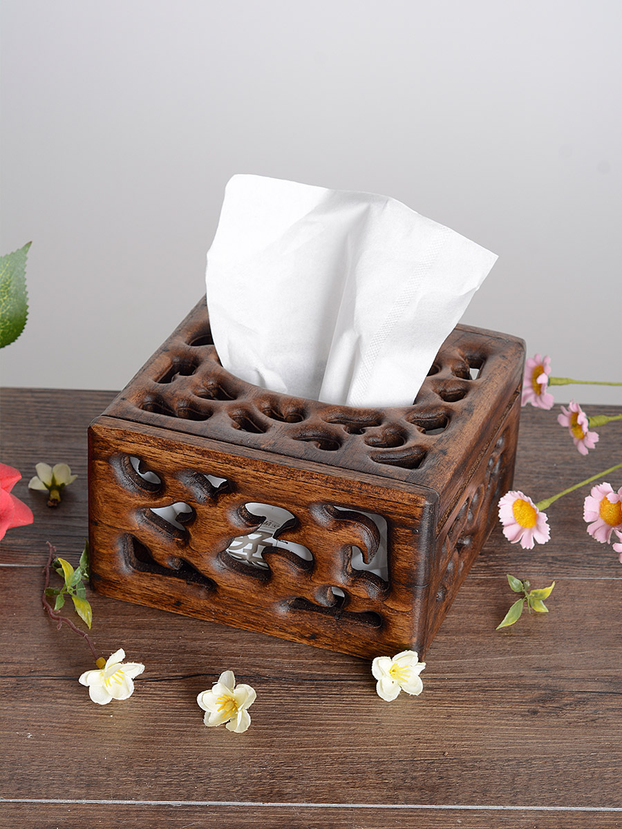 異麗創意簡約復古木質抽紙盒客廳茶臺家用實木紙巾盒新中式紙抽盒