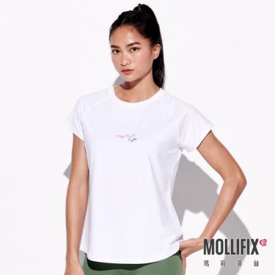 Mollifix 瑪莉菲絲 圓領修身標語短袖上衣 (白)