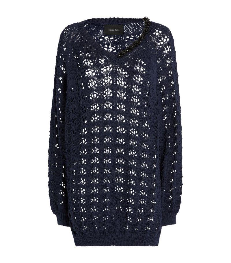 Simone Rocha Embellished Pointelle-Knit Sweater
