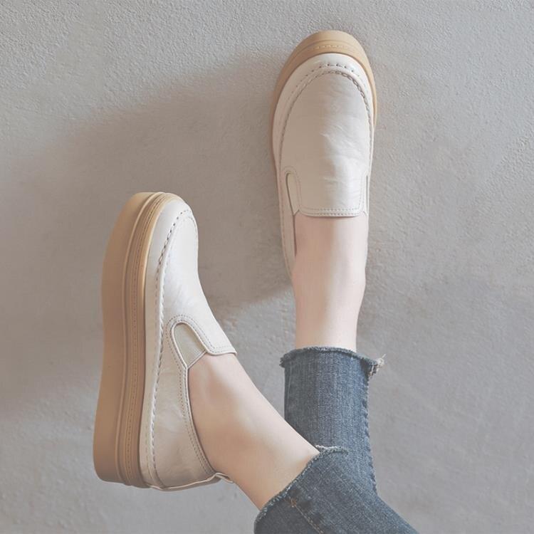 懶人鞋 休閒鞋女春季新款百搭時尚內增高女鞋厚底鬆糕鞋一腳蹬樂福鞋