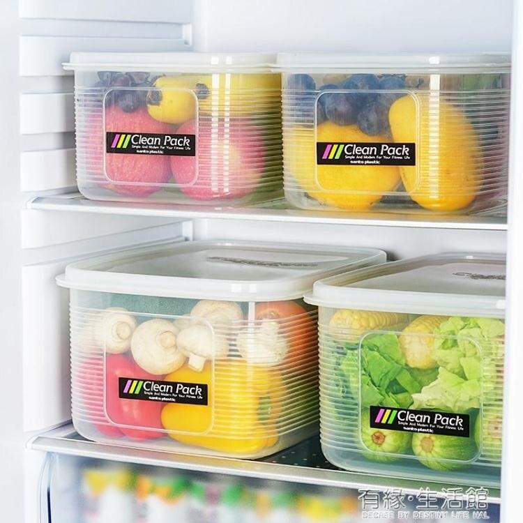 冰箱收納盒 日本進口冰箱里的收納箱保鮮盒大號廚房蔬菜水果密封收納盒大容量