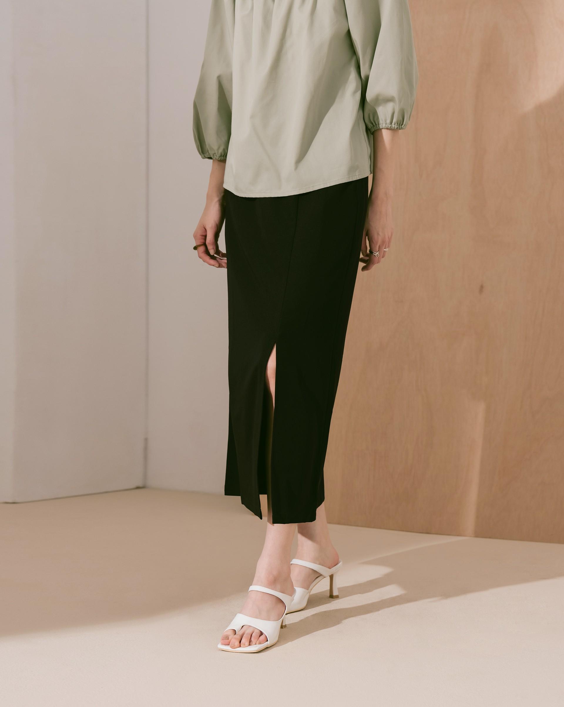 質感高腰開衩半身裙-Meierq