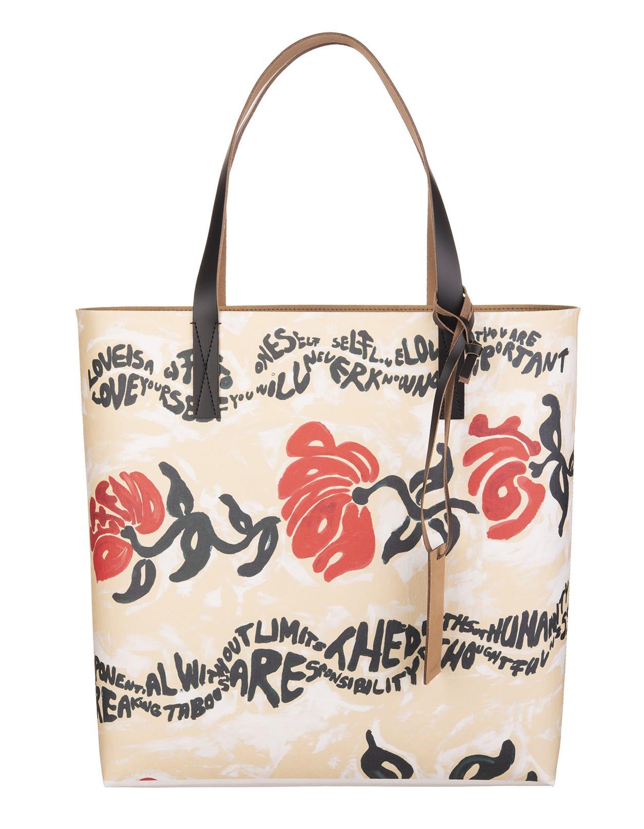 White Floral Print Shopper Bag