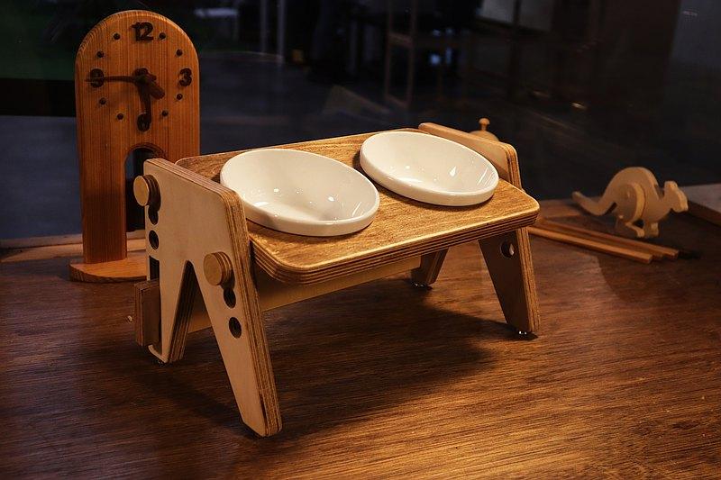 Hoja, Hoja可調式寵物餐桌-單口餐桌 附陶瓷餐碗