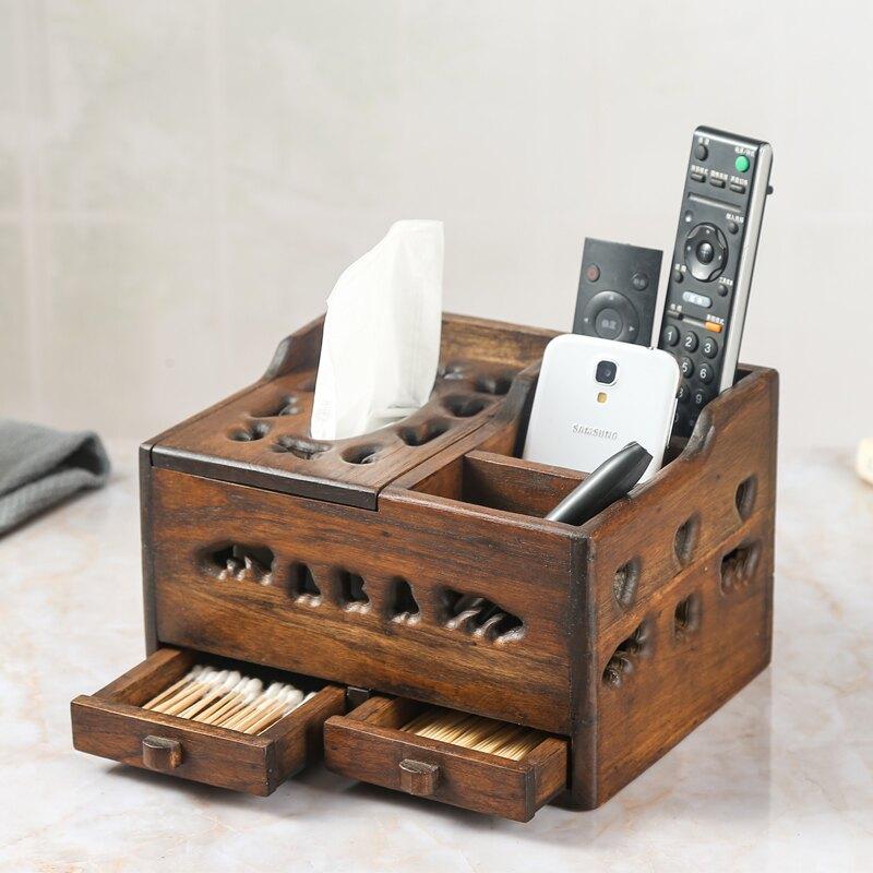 泰國實木鏤空紙巾盒復古客廳創意多功能遙控器棉簽牙簽收納抽紙盒