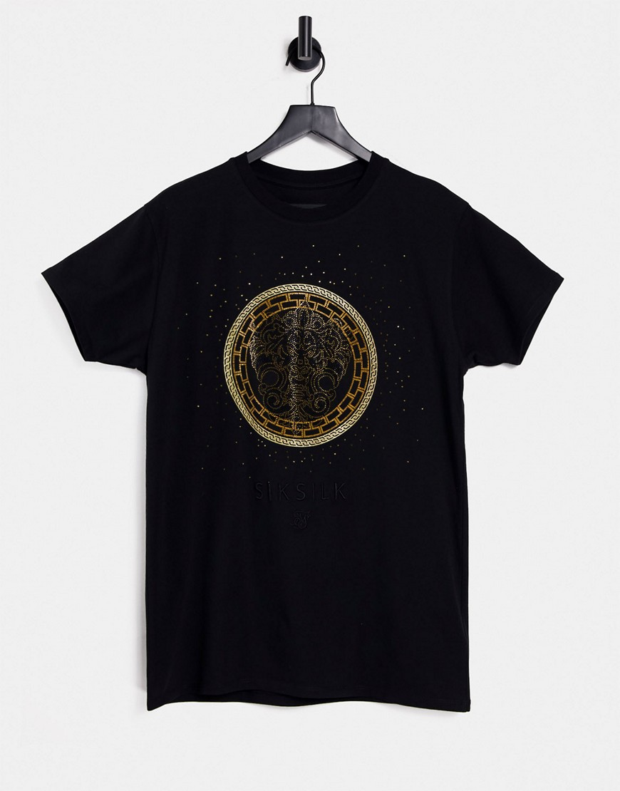 Siksilk rhinestone lion t-shirt in black