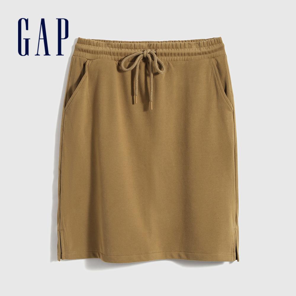 Gap 女裝 時尚繫帶法式圈織短裙 704554-淺棕色