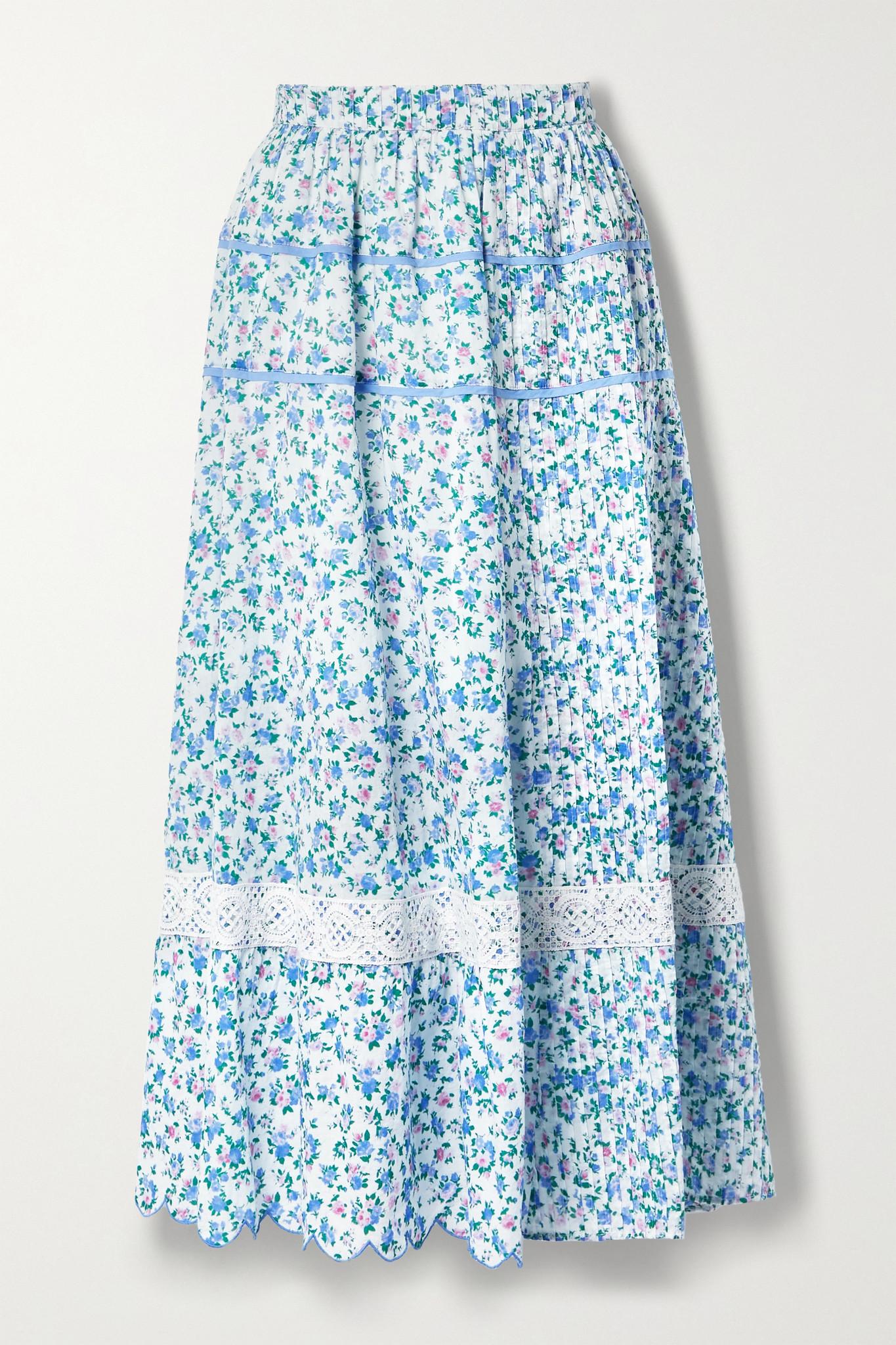 LOVESHACKFANCY - Saratoga Crochet-trimmed Scalloped Floral-print Cotton-voile Midi Skirt - Blue - xx