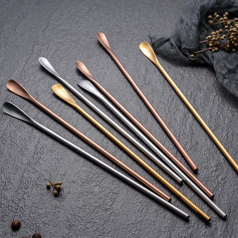 2支裝韓式長柄勺304不銹鋼攪拌勺子攪拌棒金屬加長柄攪拌勺咖啡勺