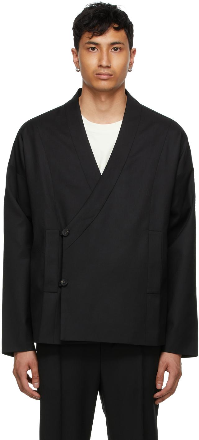 Tom Wood 黑色裹身羊毛夹克