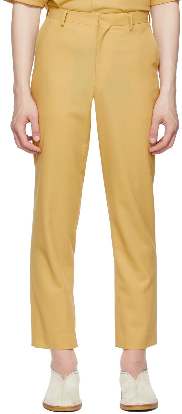 AURALEE 黄色 Hard Twist Dobby Slit 羊毛长裤