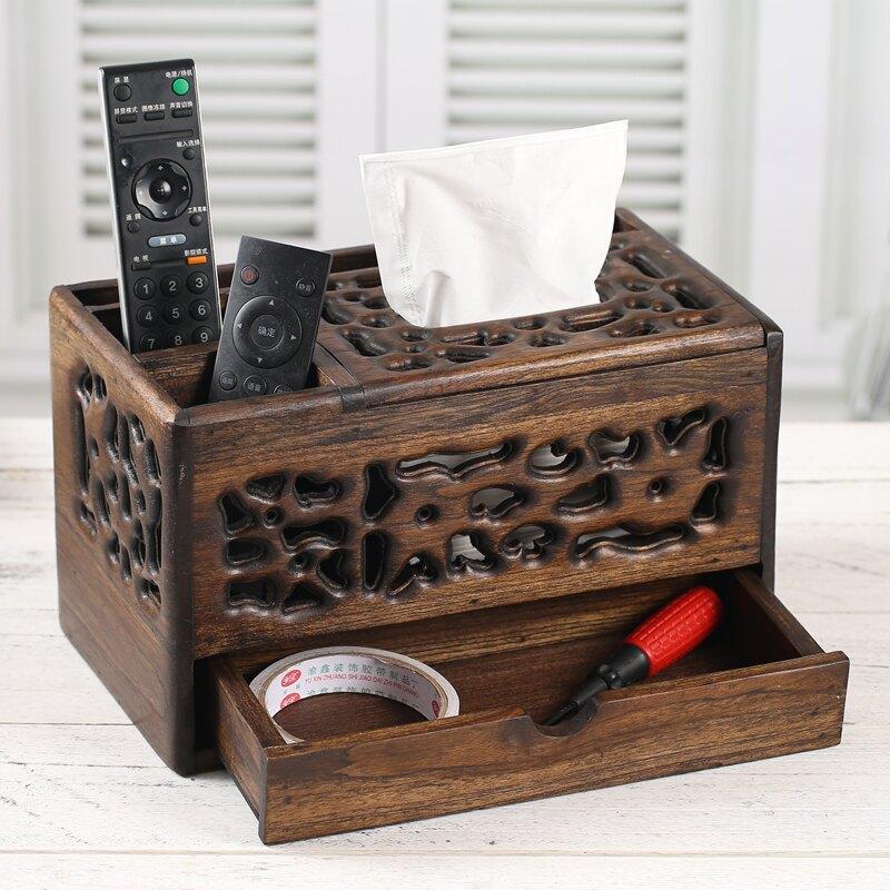 泰國復古實木紙盒客廳桌面遙控器收納盒木質多功能紙巾盒抽紙盒