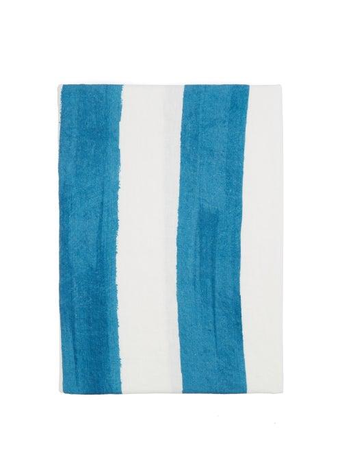 Summerill & Bishop - Striped 300cm X 165cm Linen Tablecloth - Womens - Blue Stripe