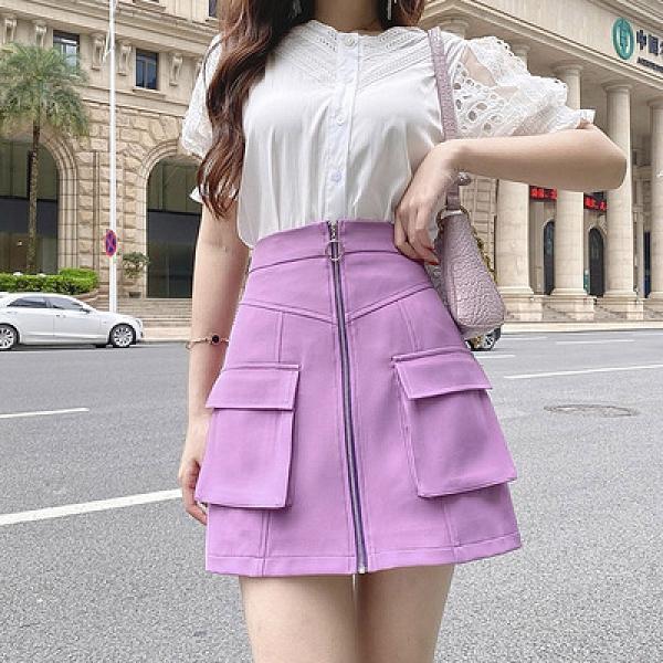 紫色短裙女夏新款a字裙學院風高腰顯瘦工裝口袋半身裙包臀裙非A043.依品國際