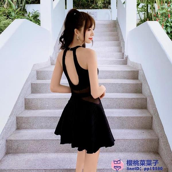 溫泉泳衣女仙女范韓版ig保守黑色性感連體裙式遮肚顯瘦大碼泳裝品牌【櫻桃】