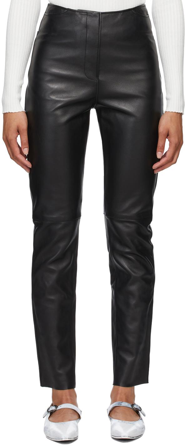 Totême 黑色直筒皮革长裤