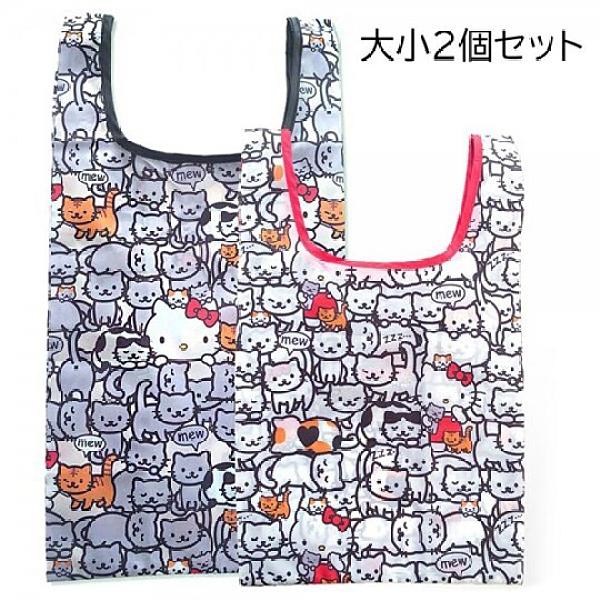 小禮堂 Hello Kitty 折疊尼龍環保購物袋組 折疊環保袋 側背袋 手提袋 (2入 白 貓咪) 4991567-26751