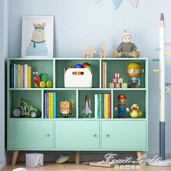 書架落地置物架多層小型書櫃帶門簡約家用學生臥室實木腿收納櫃子NMS