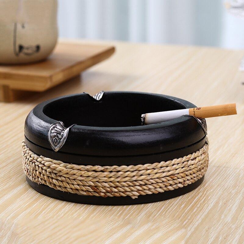 手工制作泰國進口芒果木鑲嵌泰錫麻繩藝術煙灰缸草編創意實木送禮