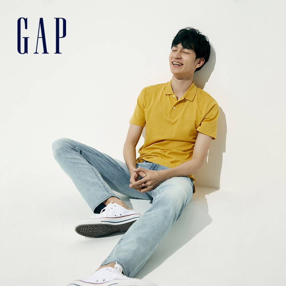 Gap 男裝 Logo純棉素色POLO衫 889904-黃色
