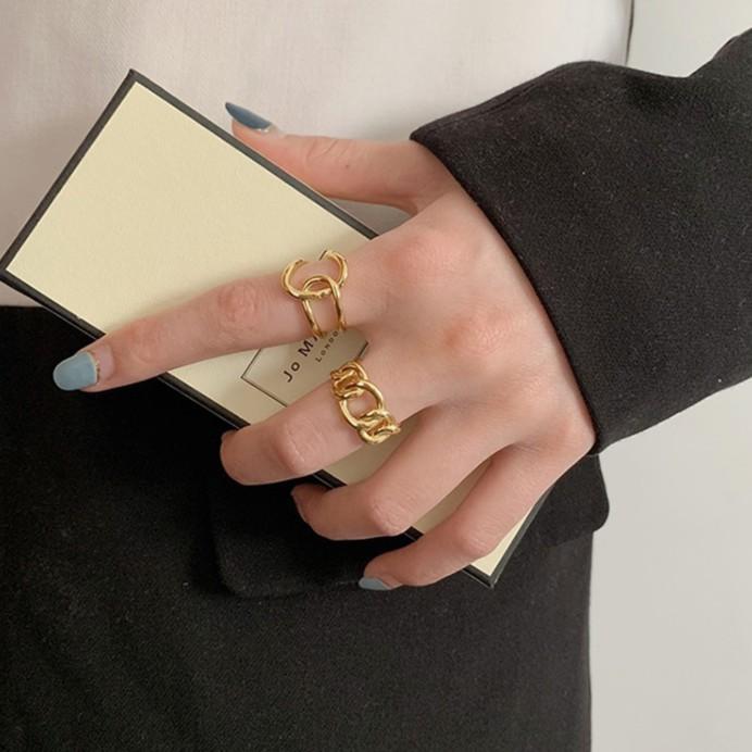 百搭光亮泰銀鏈條戒指 日韓戒指女時尚個性ins冷淡風潮人感歐美誇張蹦迪網紅酷設計食指