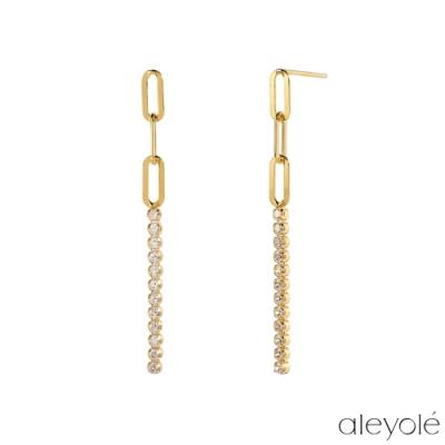ALEYOLE 層次排鑽925純銀鍍18K金耳環 NARA GOLD
