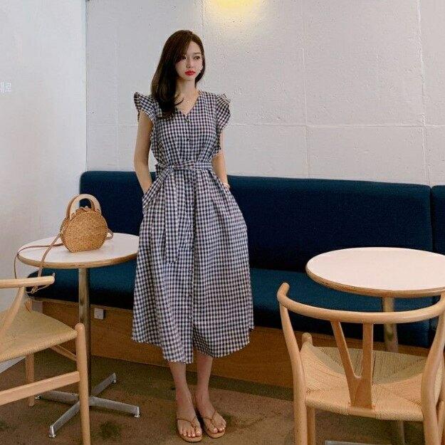 洋裝 韓系春夏飛鼠袖收腰格紋格子大擺連身長裙 共2色 依米迦