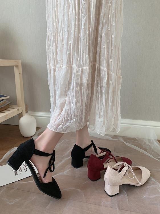 高跟鞋女新款少女涼鞋休閒百搭性感氣質法式網紅粗跟單鞋ins