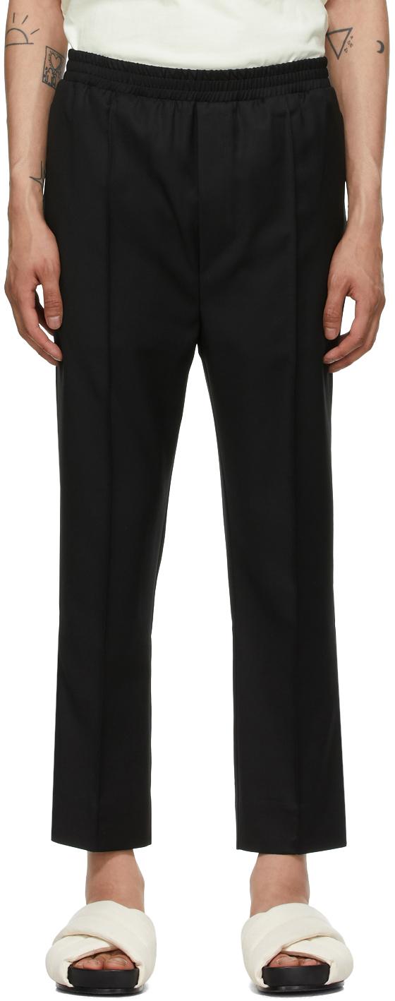 Tom Wood 黑色 Elastic 羊毛长裤