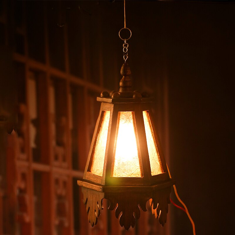 木制庭院玻璃吊燈 實木酒店裝飾燈 泰國特色壁燈復古懷舊客廳吊燈