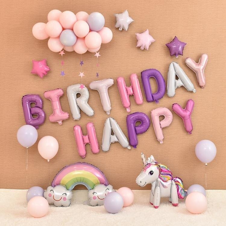 寶寶兒童周歲生日裝飾場景布置快樂套餐派對字母卡通驚喜主題氣球