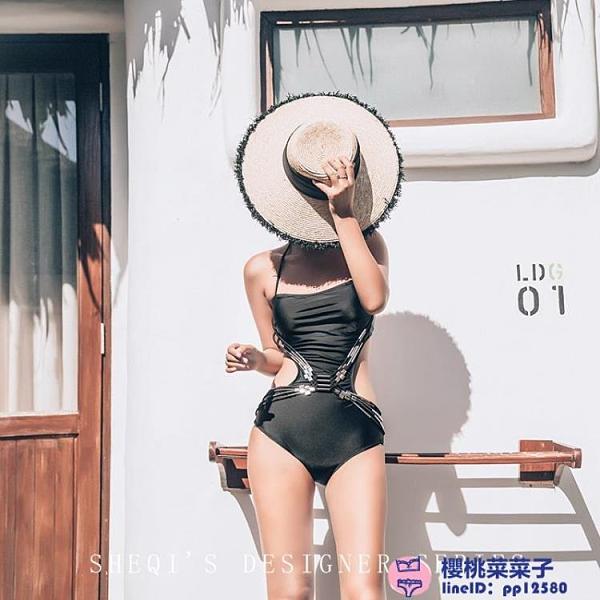 泳衣女遮肚顯瘦連體三角性感小胸聚攏性感溫泉泳裝大碼泳裝品牌【櫻桃】