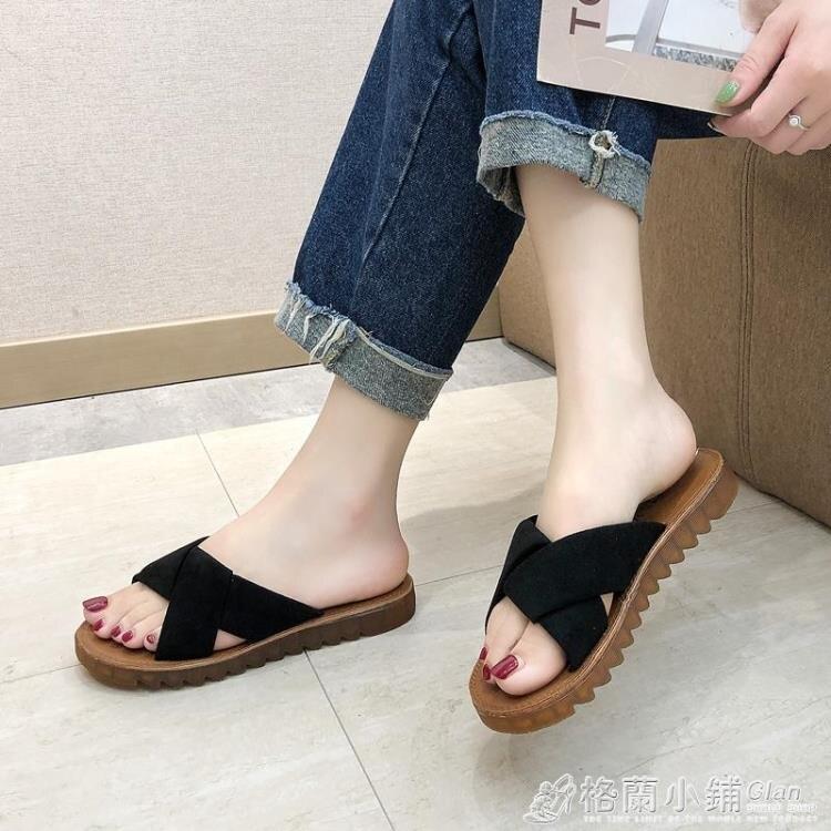 新款夏季外穿時尚百搭一字拖女平底拖鞋沙灘鞋羅馬網紅涼拖鞋