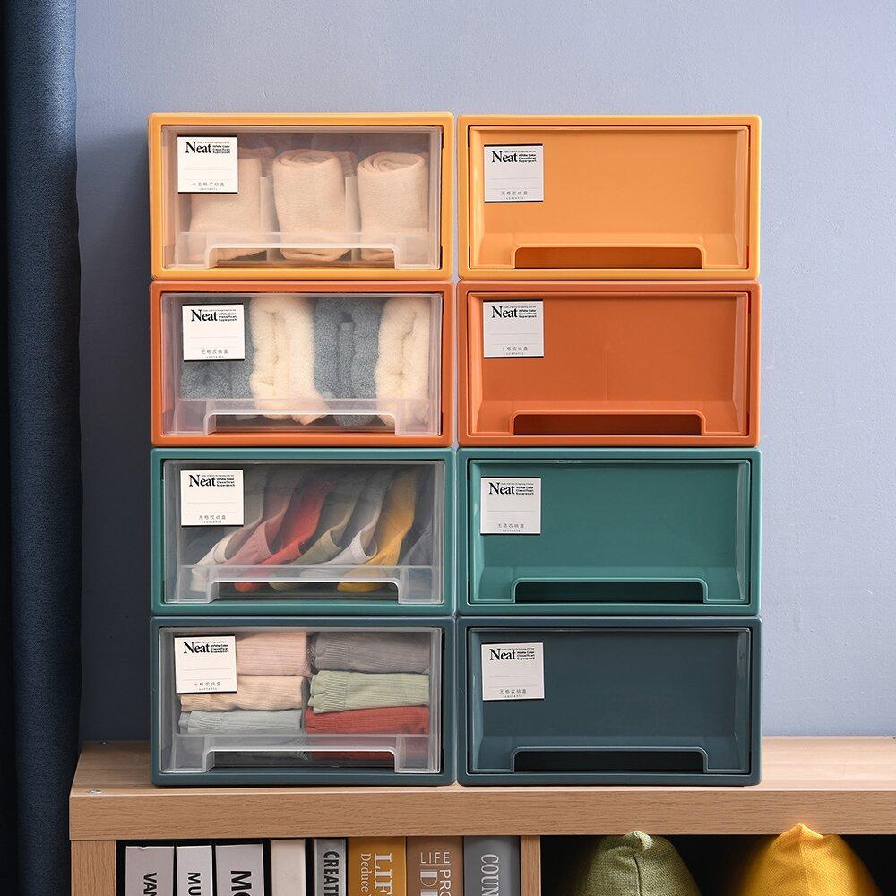 【Mr.box】莫蘭迪4色可疊抽屜式內衣小物整理箱收納櫃(4色1組)-彩色/透明可選