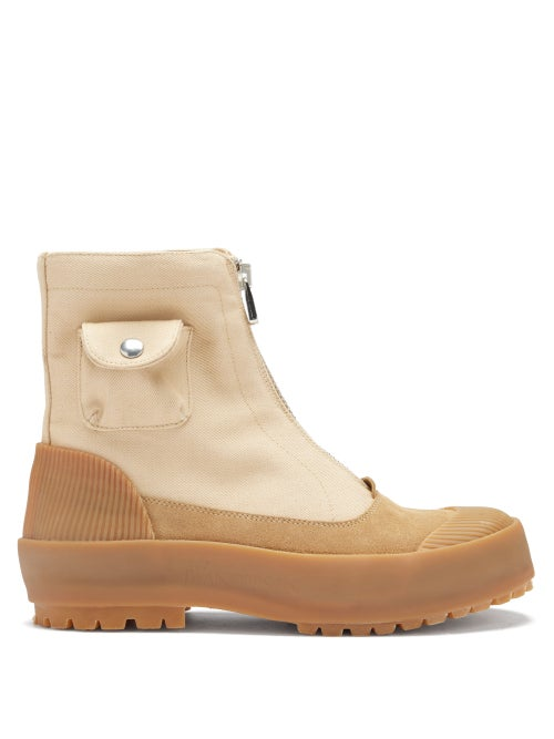 JW Anderson - Zipped Cotton-canvas Boots - Womens - Beige